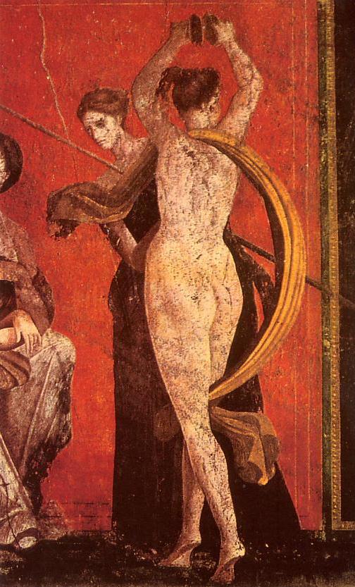 Detalle de los frescos de la Villa de los Misterios de Pompeya. Fuente: Wikimedia Commons.