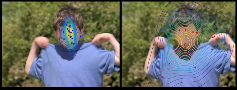 Cada punto indica la posición exacta de la mirada de un niño durante la proyección de un video. A la izquierda, los puntos azules pertenecen a niños con un desarrollo típico. A la derecha, los puntos rojos pertenecen a niños autistas. La cara de los niños no se vió borrosa durante el experimento. Foto: Universidad de Ginebra.