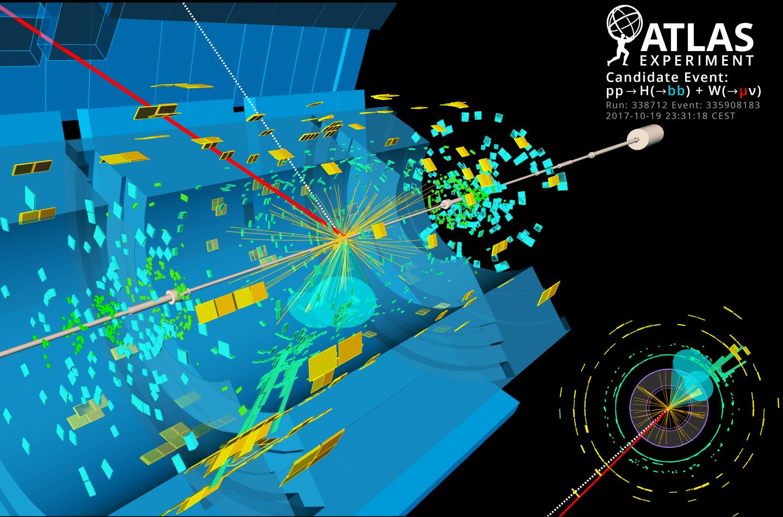 Recreación de la desintegración del bosón de Higgs (H) en dos quarks b, asociada a una desintegración de un bosón W en un muon  (µ) y un neutrino (ν). Imagen : ATLAS/CERN.