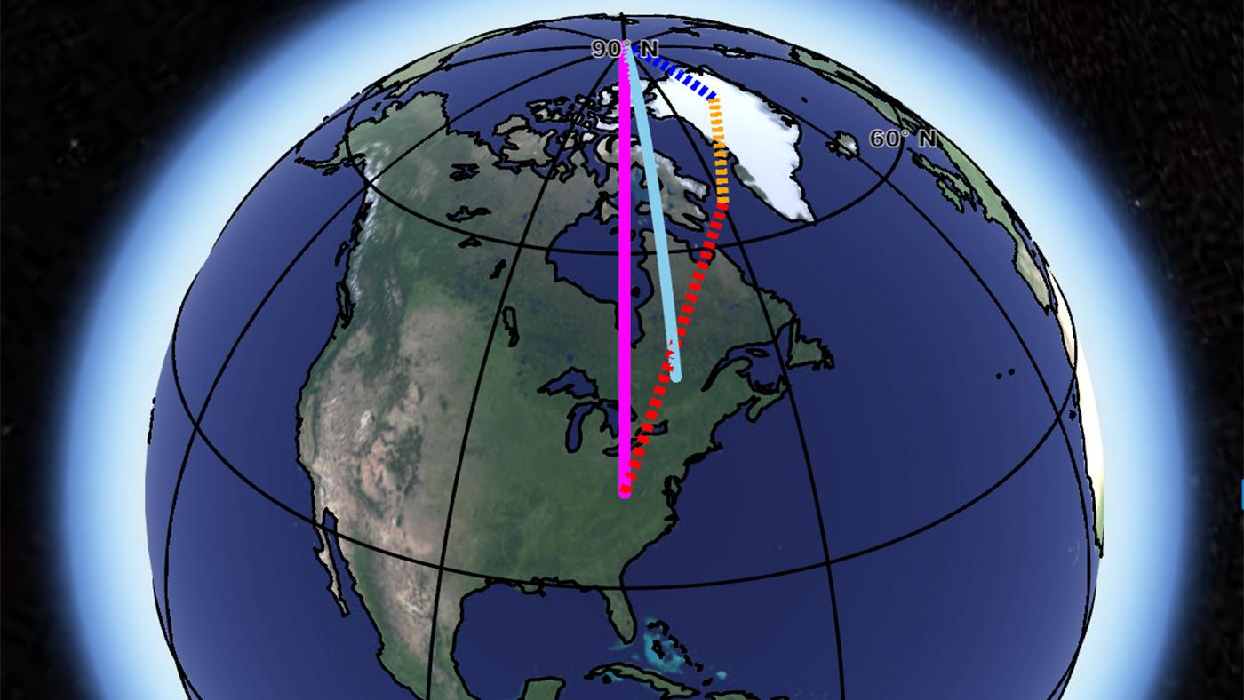 En la imagen, la línea azul representa la deriva natural del eje de giro de la Tierra, pero la influencia de los tres factores (en línea de puntos) ha desplazado este eje de giro a la posición marcada por la línea rosa. Credit: NASA/ JPL-Caltech.