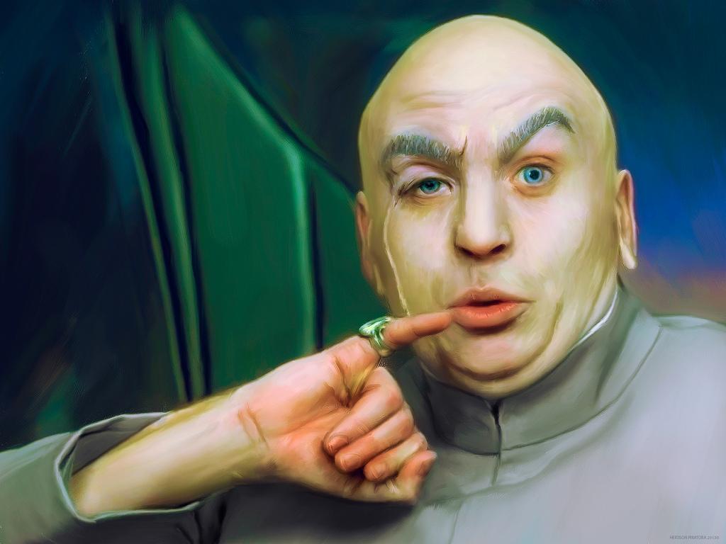 Recreación artística del malévolo Dr. Evil,  de las películas Austin Powers: su único propósito es amenazar con destruir el mundo. Hersson Piratoba.