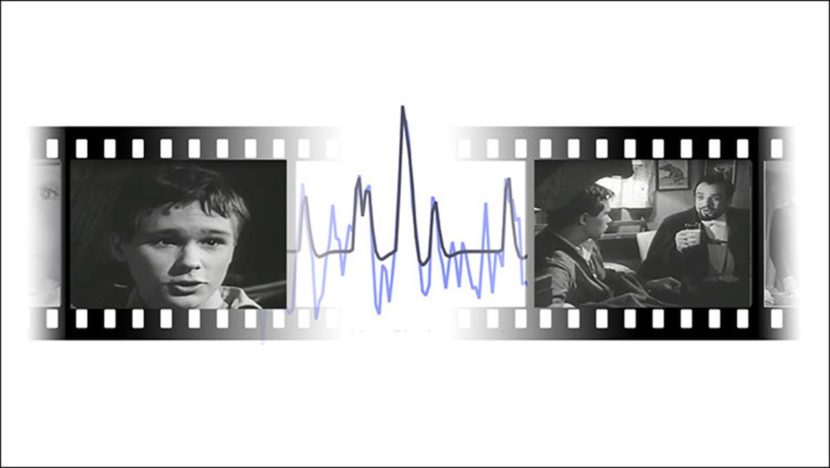 """La actividad en una región del cerebro llamada hipocampo, que participa en la formación de nuevos recuerdos, aumenta los límites entre distintos eventos dentro de una película. Los cuadros de películas que se muestran aquí son solo para fines ilustrativos, y están tomados de """"The Sorcerer's Apprentice (1961)"""" por Alfred Hitchcock. Crédito: Aya Ben-Yakov and Richard Henson."""