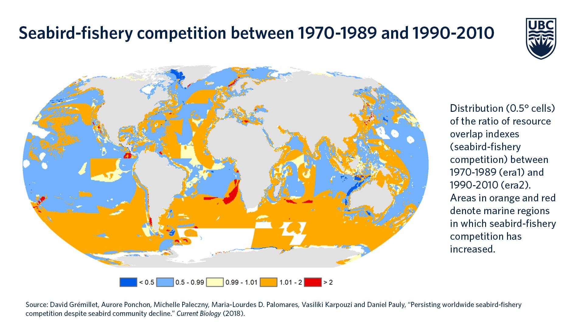 Las areas de rojo y naranja indican las regiones marinas en las que más ha aumentado la competencia por la pesca de aves marinas. Click sobre la imagen para ampliar.