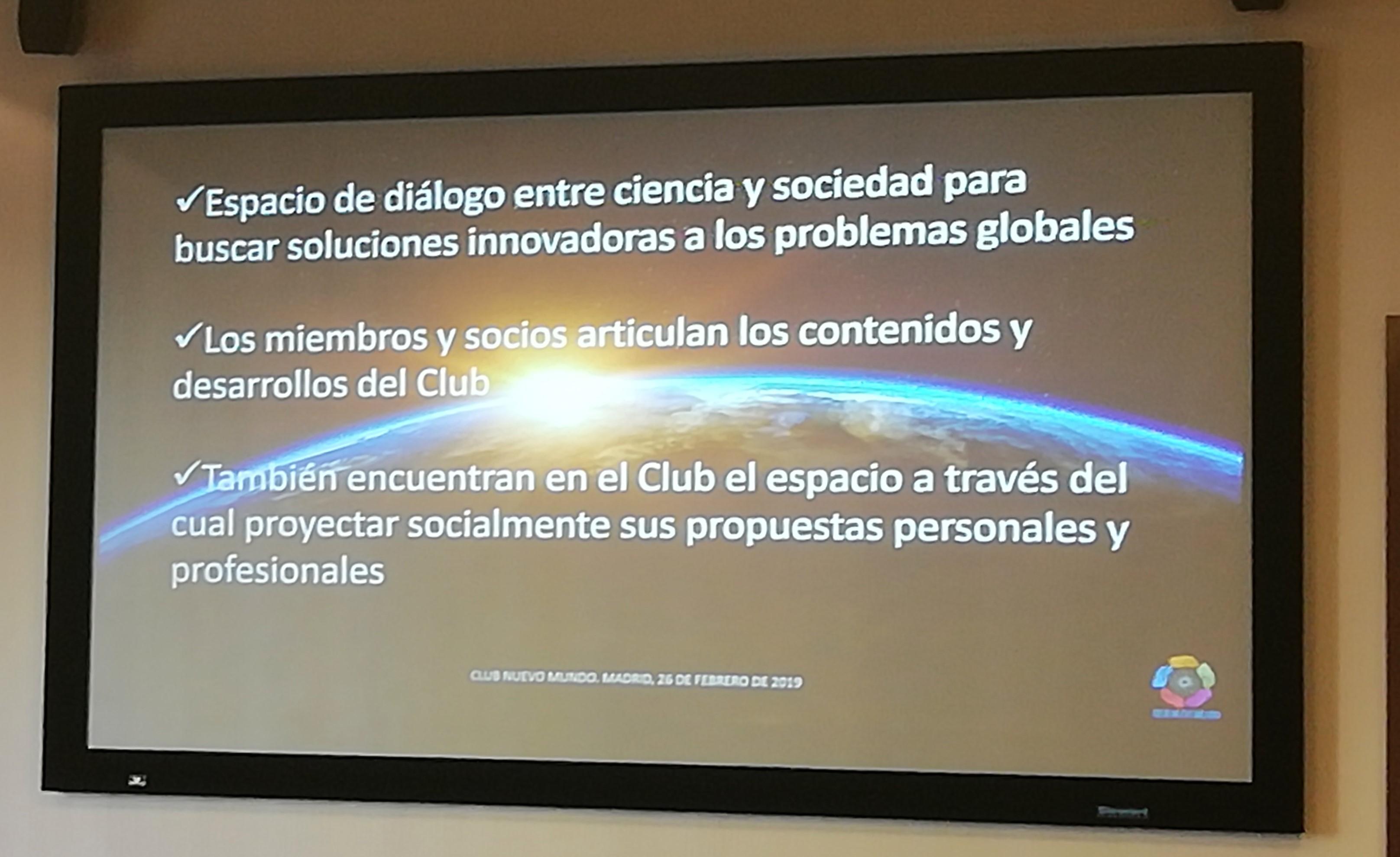Características del Club Nuevo Mundo tal como se explicaron en la mesa redonda. Foto: Eva Reneses.