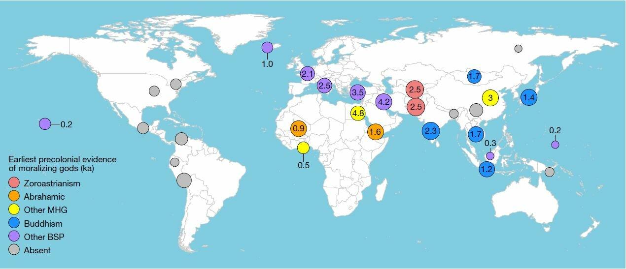 Este mapa recoge la ubicación de las 30 regiones del mundo etiquetadas según la presencia pre-colonial de dioses moralizantes en sus respectivas culturas. Los números indican los miles de años de antigüedad. Los colores el tipo de dioses.  Créditos: Harvey Whitehouse et al.