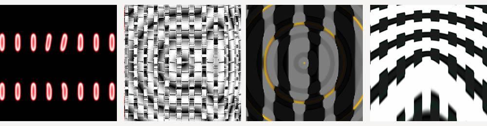 Los ordenadores confundieron las imágenes de arriba (de izquierda a derecha) con un reloj digital, un crucigrama, un pingüino rey y un rifle de asalto. Imagen: Johns Hopkins University.