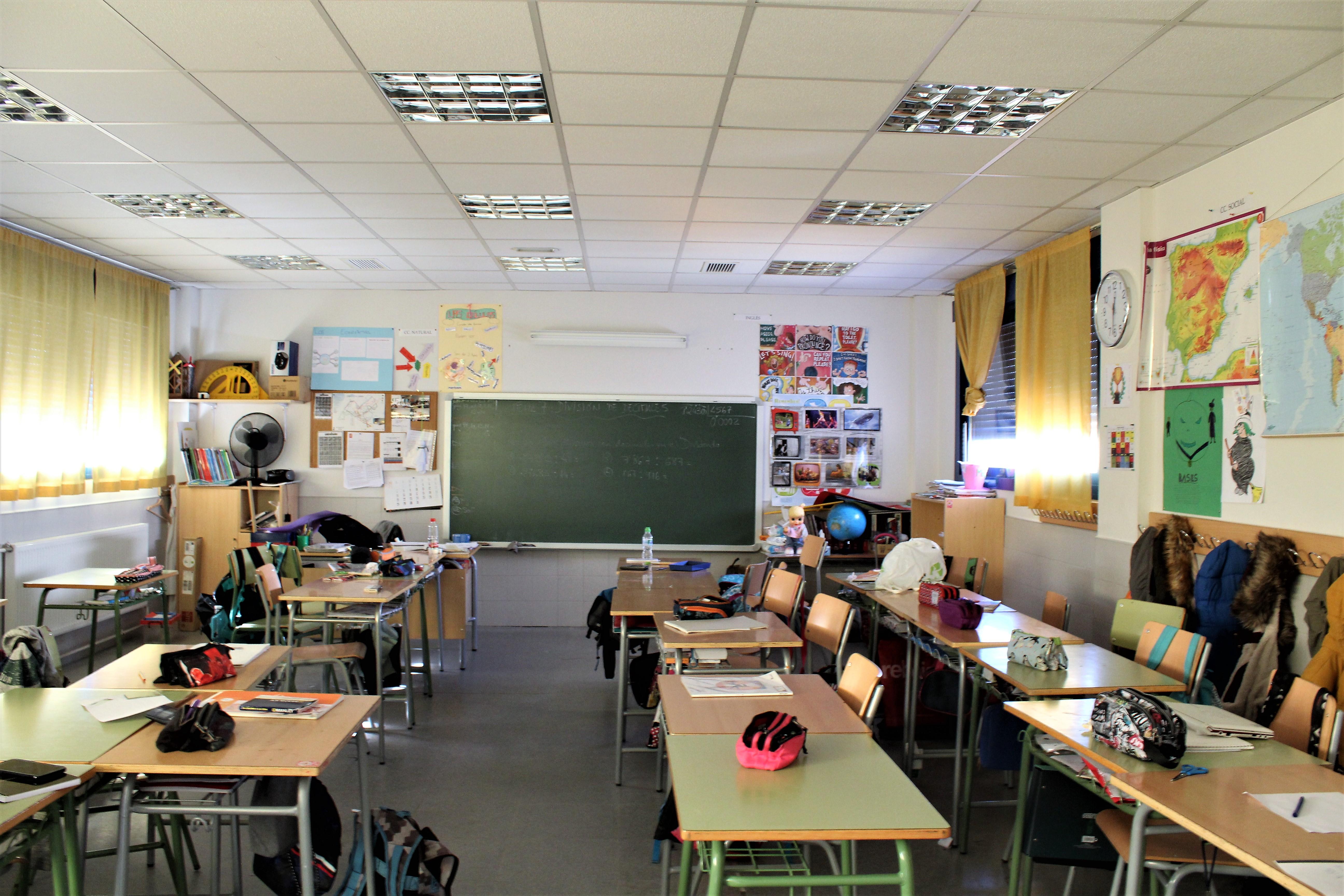 Aula de la clase de 6º A del del CEIP La Muñeca (Guadalajara). Imagen: Eva Reneses.