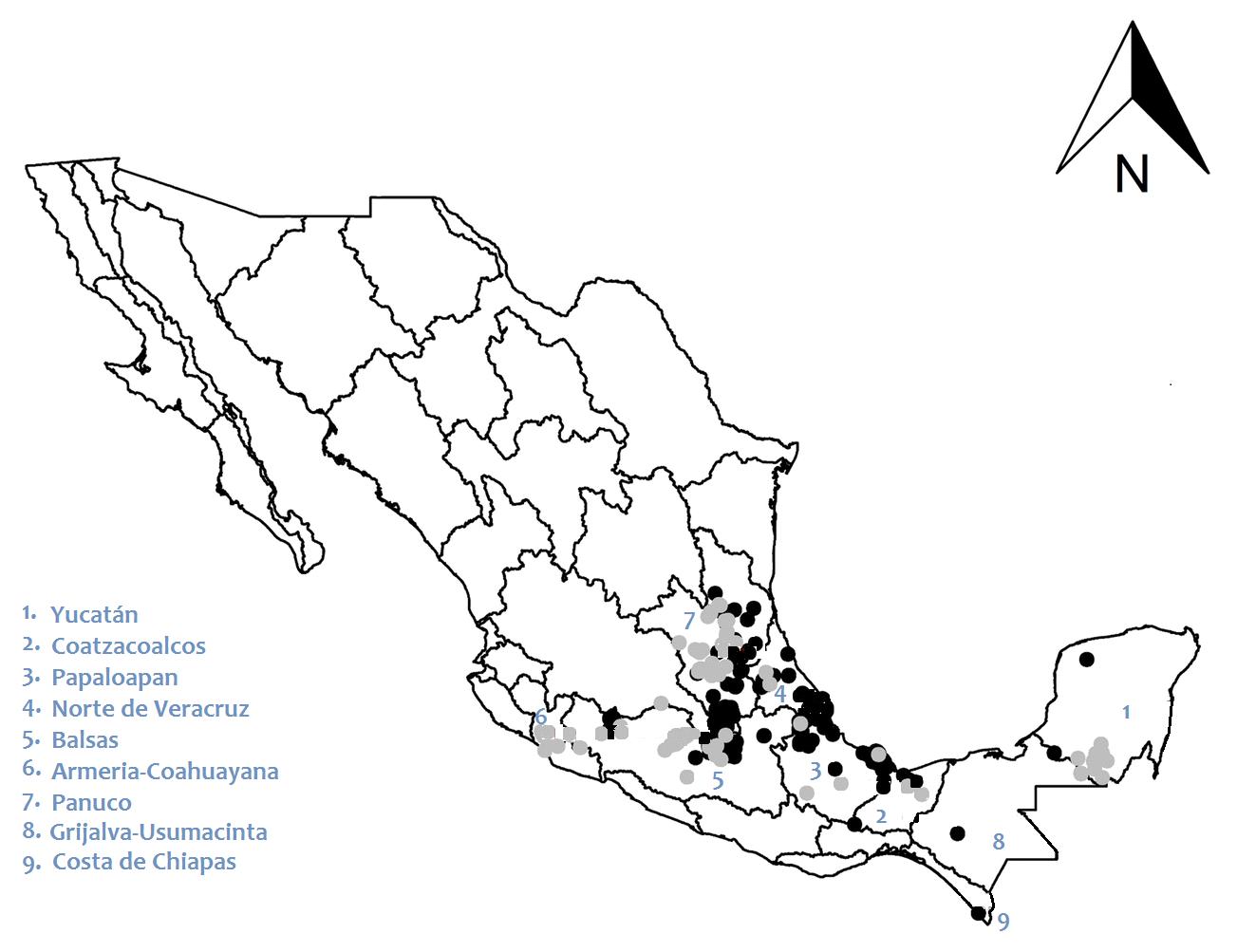 Figura 4. Sitios en México donde se encontraron comunidades de libélulas y caballitos del diablo en los dos periodos estudiados: 1980-1993 (puntos negros) y 1994-2010 (puntos grises). Imagen modificada de Rocha-Ortega et al. 2019.