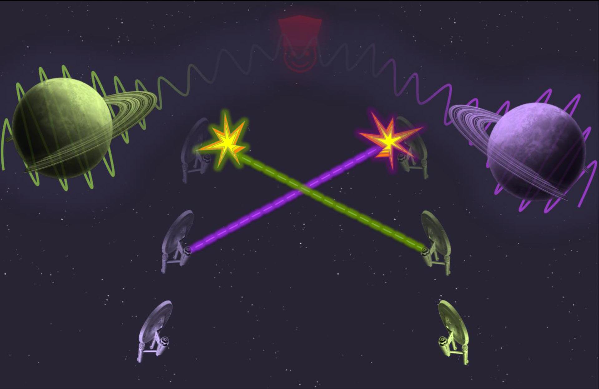Ilustración del experimento imaginario en el que dos naves espaciales se destruyen y salvan a la vez, cuando un planeta cercano está en una superposición de estados que se proyecta sobre el tiempo. Imagen: Universidad de Queensland.