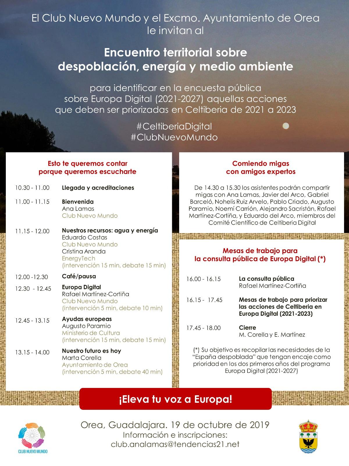 Programa del encuentro de Orea. Click sobre la imagen para inscribirte gratuitamente.