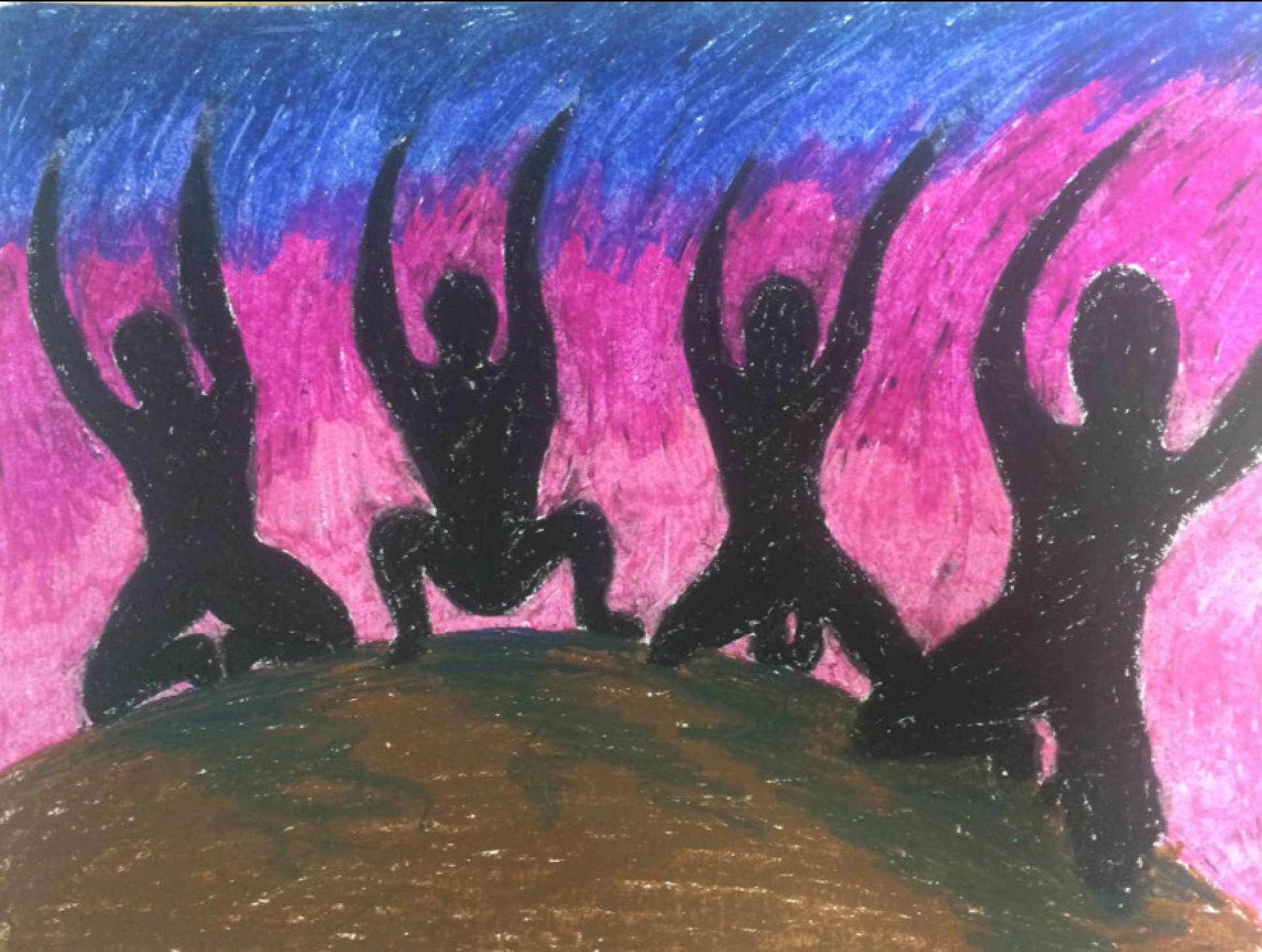 Ilustración de uno de los participantes del estudio que captura algunas de las visiones durante su experiencia con DMT: muestra cuatro sombras arrodilladas en un montículo de tierra agitando los brazos contra un fondo colorido. ICL.