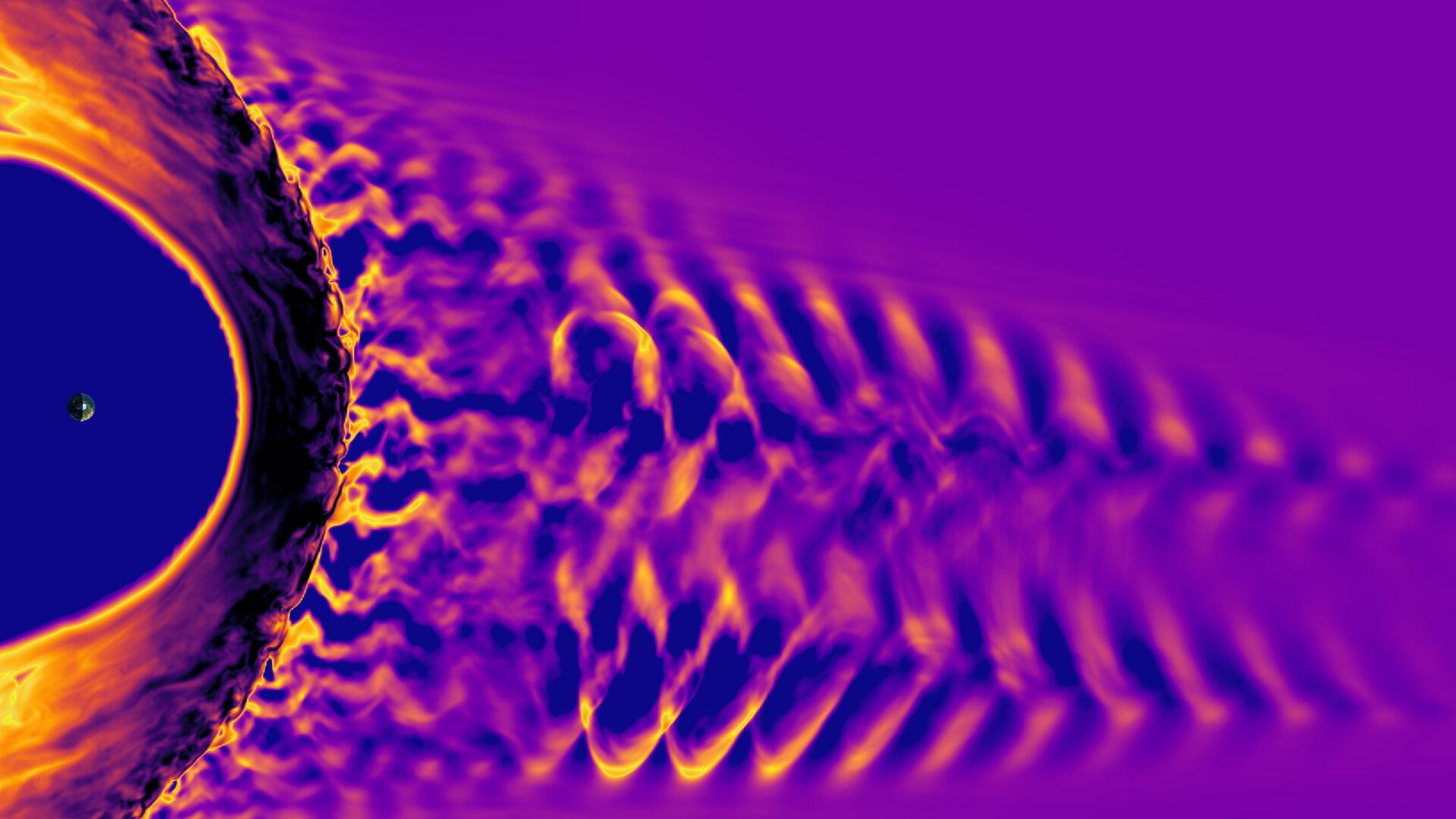 Ilustración del campo magnético terrestre. Vlasiator, Universidad de Helsinki.