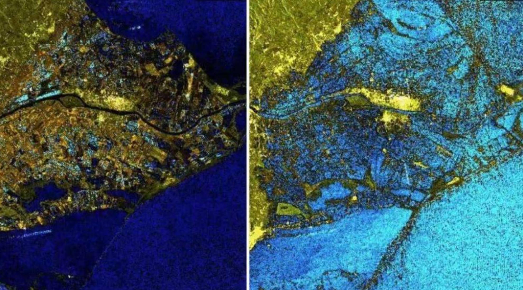 El Delta del Ebro, antes y después de la inundación. Imagen: COPERNICUS EMS.