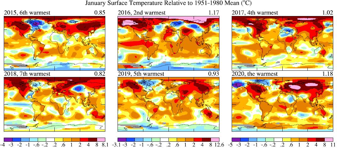 Mapa de las anomalías climáticas de los últimos seis meses de enero  (base 1951-1980). Fuente: NASA GISS. (Climat-global)