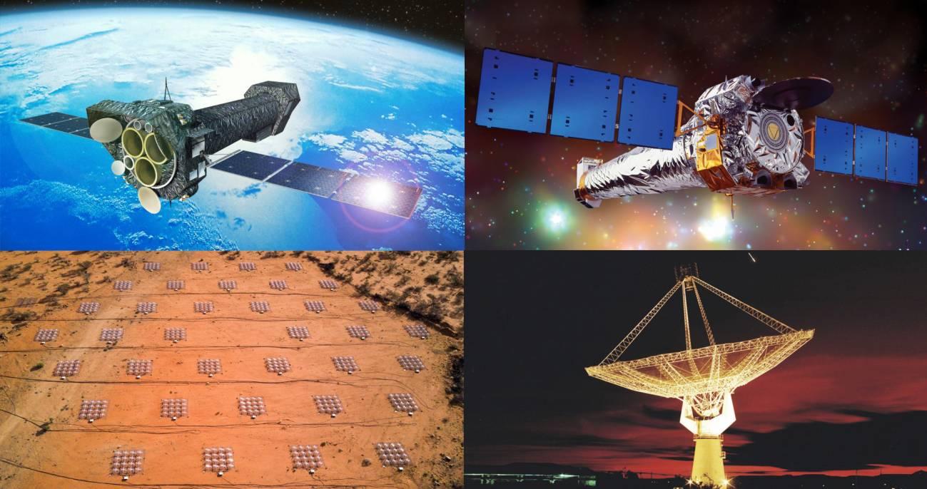 Observatorio de rayos X Chandra de la NASA, el telescopio espacial XMM-Newton de la ESA, el Murchison Widefield Array (MWA) en Australia occidental y el radiotelescopio gigante de Metrewave (GMRT) en India. (Fotomontaje: SINC)