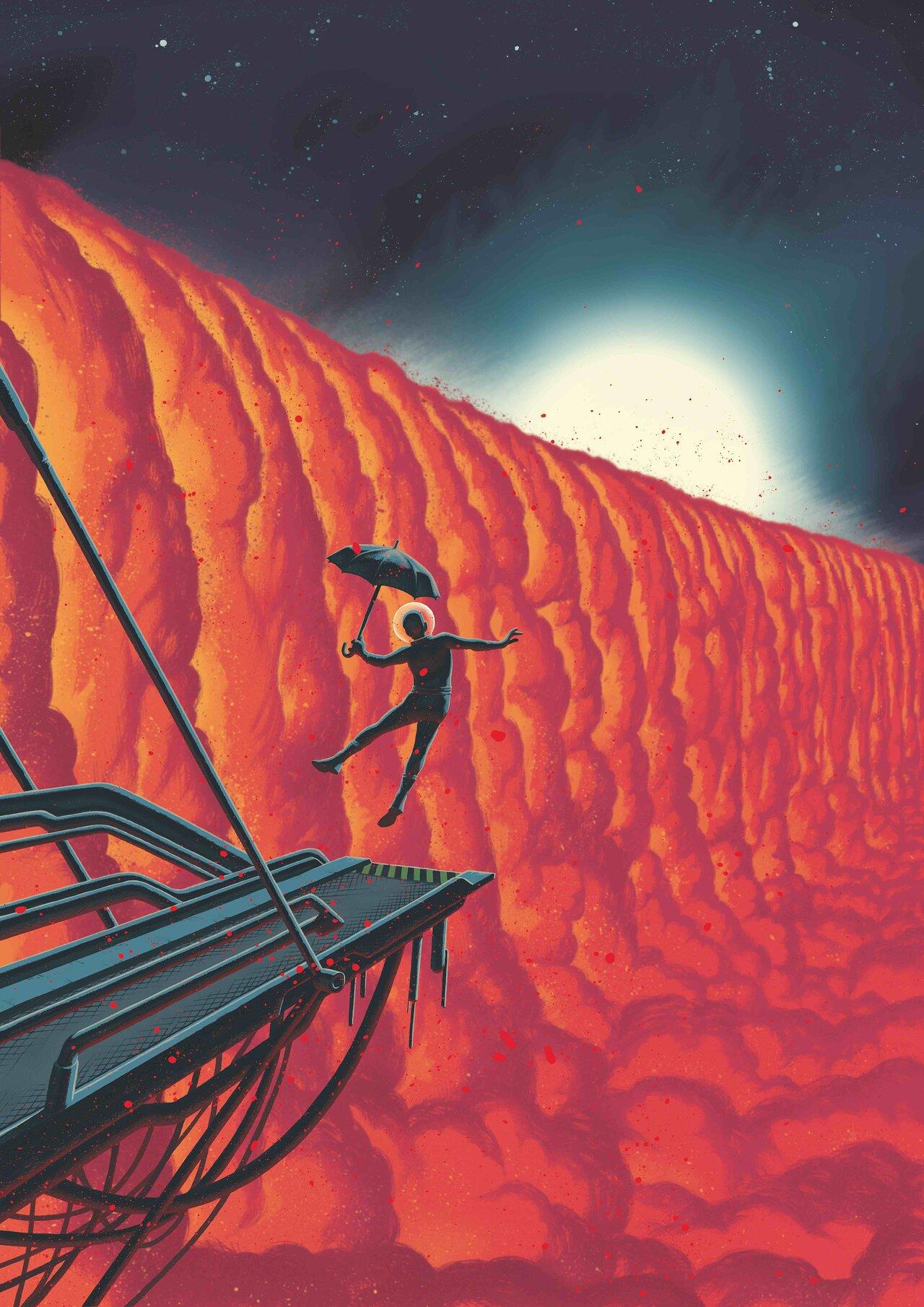 Esta ilustración de cómic muestra una vista cercana de la frontera entre día y noche en el exoplaneta WASP-76b. Crédito: Frederik Peeters.