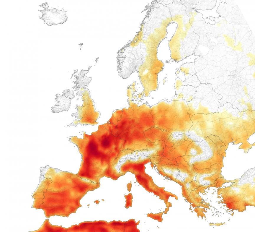 Ola de calor registrada en 7 países de Europa el 25 de julio de 2019. Foto: NASA / Observatorio de la Tierra