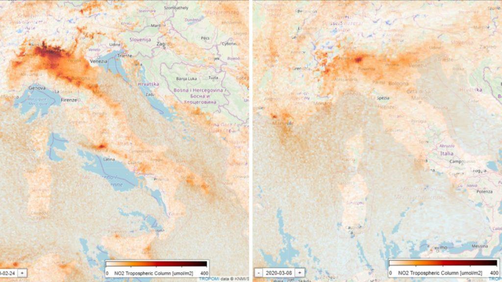 Foto: La imagen satelital muestra la reducción del NO2 sobre Italia (EPHA)