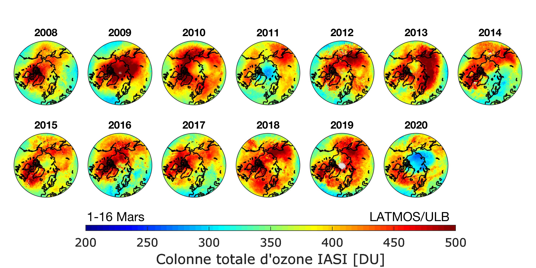Disminución por años de la capa de ozono desde el 2008 a la actualidad. En el año 2011 se observa más notable su incremento. Foto: © Anne Boynard (LATMOS / IPSL)