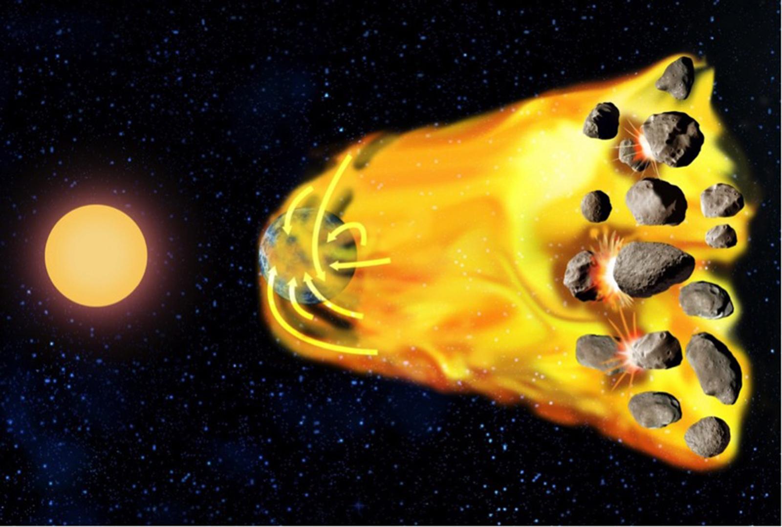 Representación artística de cómo se produce la acumulación tardía de gas en un exoplaneta: un lejano disco de planetesimales se desplaza hacia el interior del sistema hasta que es capturado por el planeta. Entonces se crea una nueva atmósfera en el exoplaneta que es propicia para la vida. © Sylvain Cnudde / Observatoire de Paris – PSL.