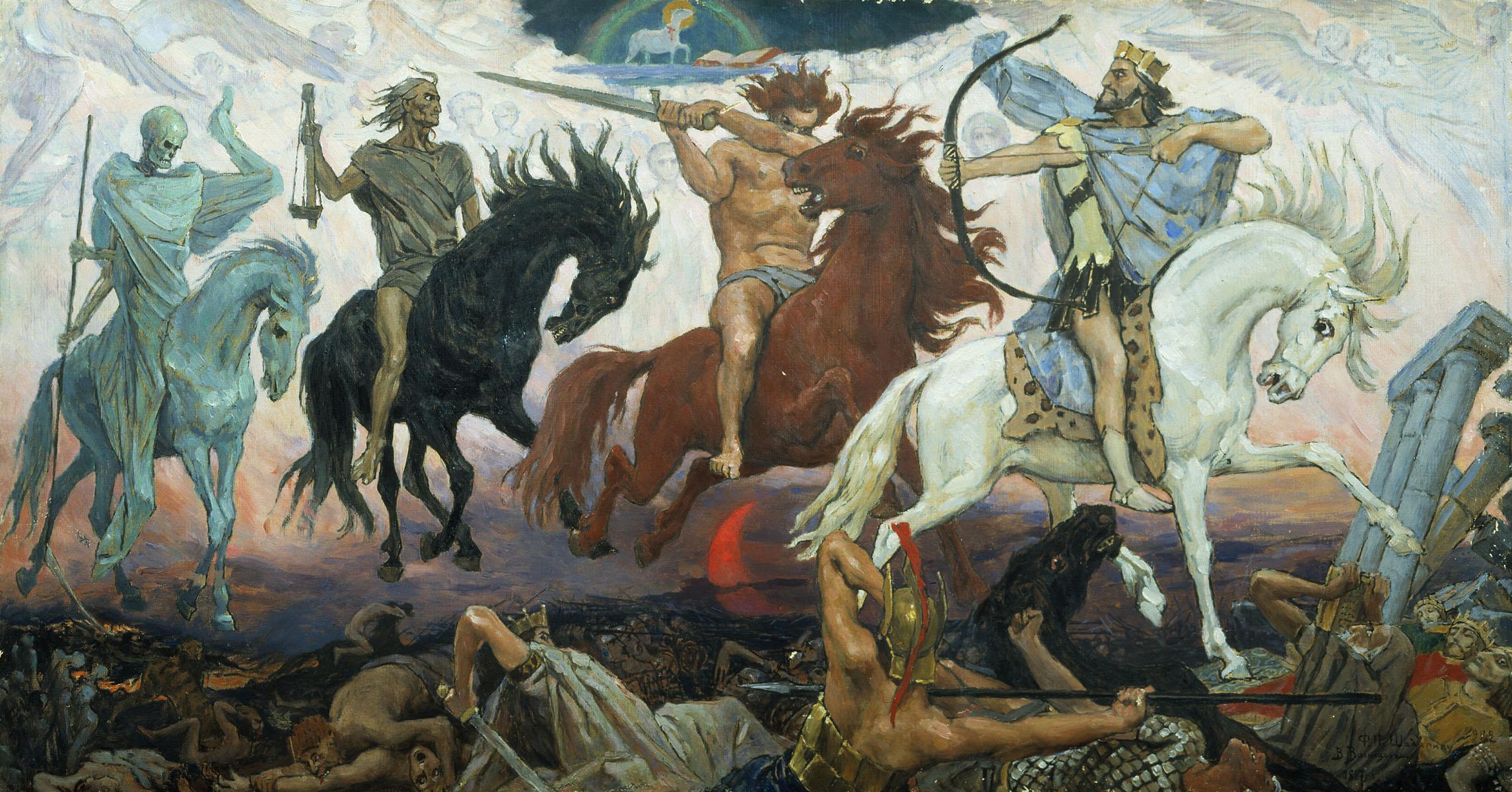 Los cuatro Jinetes del Apocalipsis que según la Biblia aportarían grandes males a la humanidad. De izquierda a derecha: la muerte, el hambre, la guerra y la enfermedad. Pintura de Viktor Vasnetsov (1887).