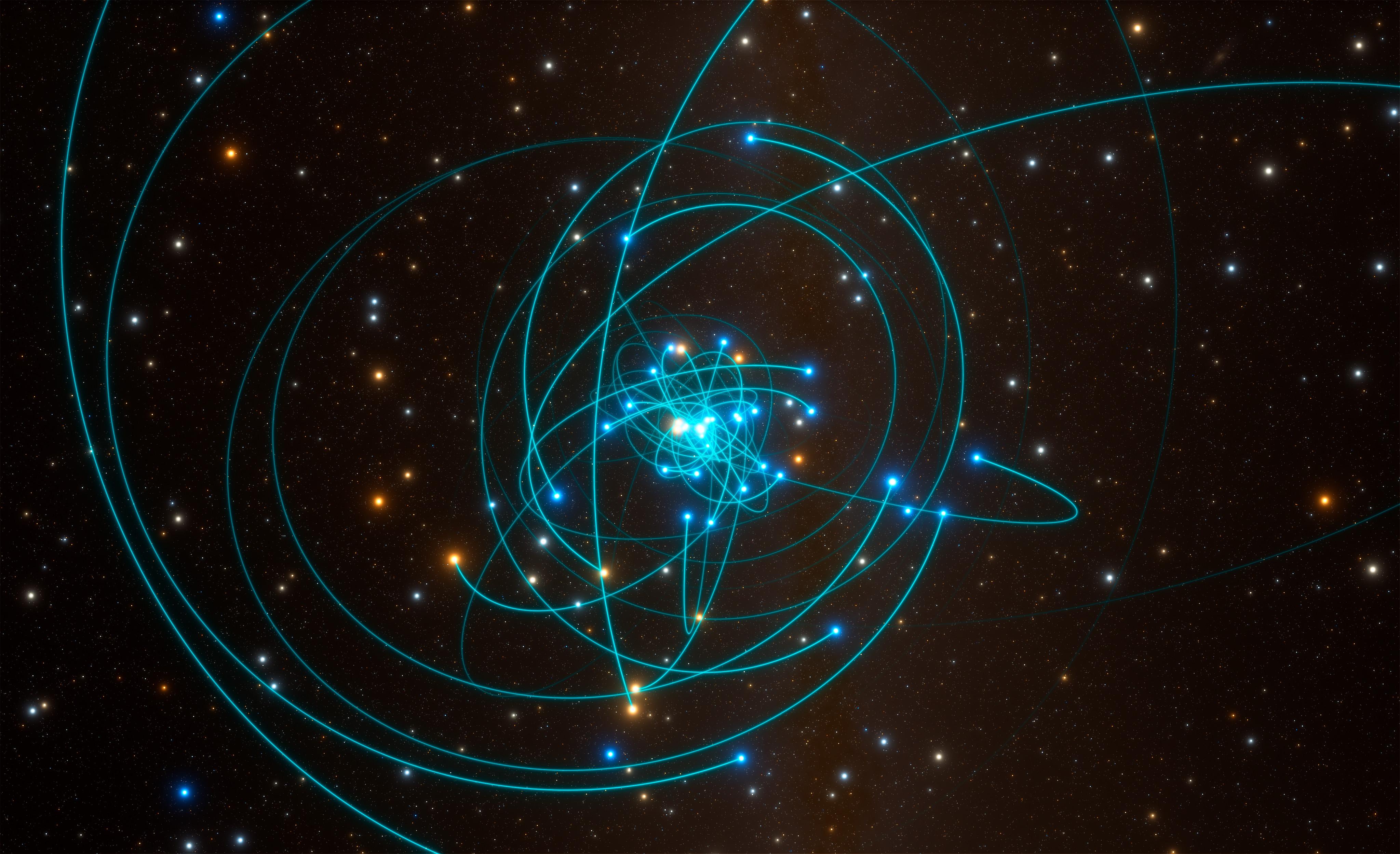 Esta simulación muestra las órbitas de las estrellas muy cerca del agujero negro supermasivo en el centro de la Vía Láctea. Crédito: ESO/L. Calçada/spaceengine.org