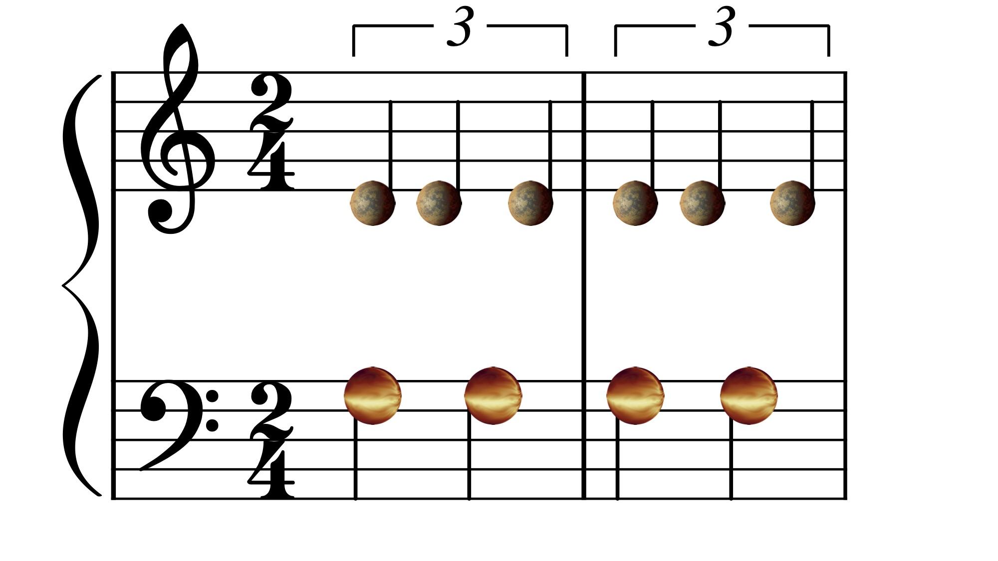 La resonancia orbital de los planetas que rodean al sistema HD158259 es similar: proceden como los músicos cuando se sintonizan al primer compás. © UNIGE/NASA