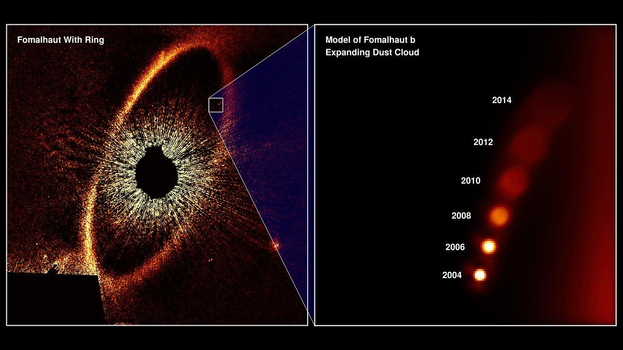 Ilustración de las observaciones del Hubble Space Telescope de la nube de polvo en expansión de Fomalhaut b de 2004 a 2013, origen de la confusión sobre este aparente planeta. Crédito: NASA, ESA y A. Gáspár y G. Rieke (Universidad de Arizona).