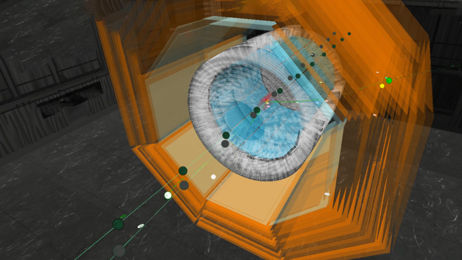 Imagen generada por ordenador de un evento simulado en el cual un bosón Z' es producido en colisiones electrón-positrón, asociado a dos muones, en color verde en la figura, y cuyo decaimiento se produce a partículas invisibles. En esta figura, el bosón Z' decae a un neutrino y un anti-neutrino que escapan del detector, pero el modo de decaimiento puede incluir también partículas y anti-partículas de antimateria). Crédito: Ill./©: Belle II.