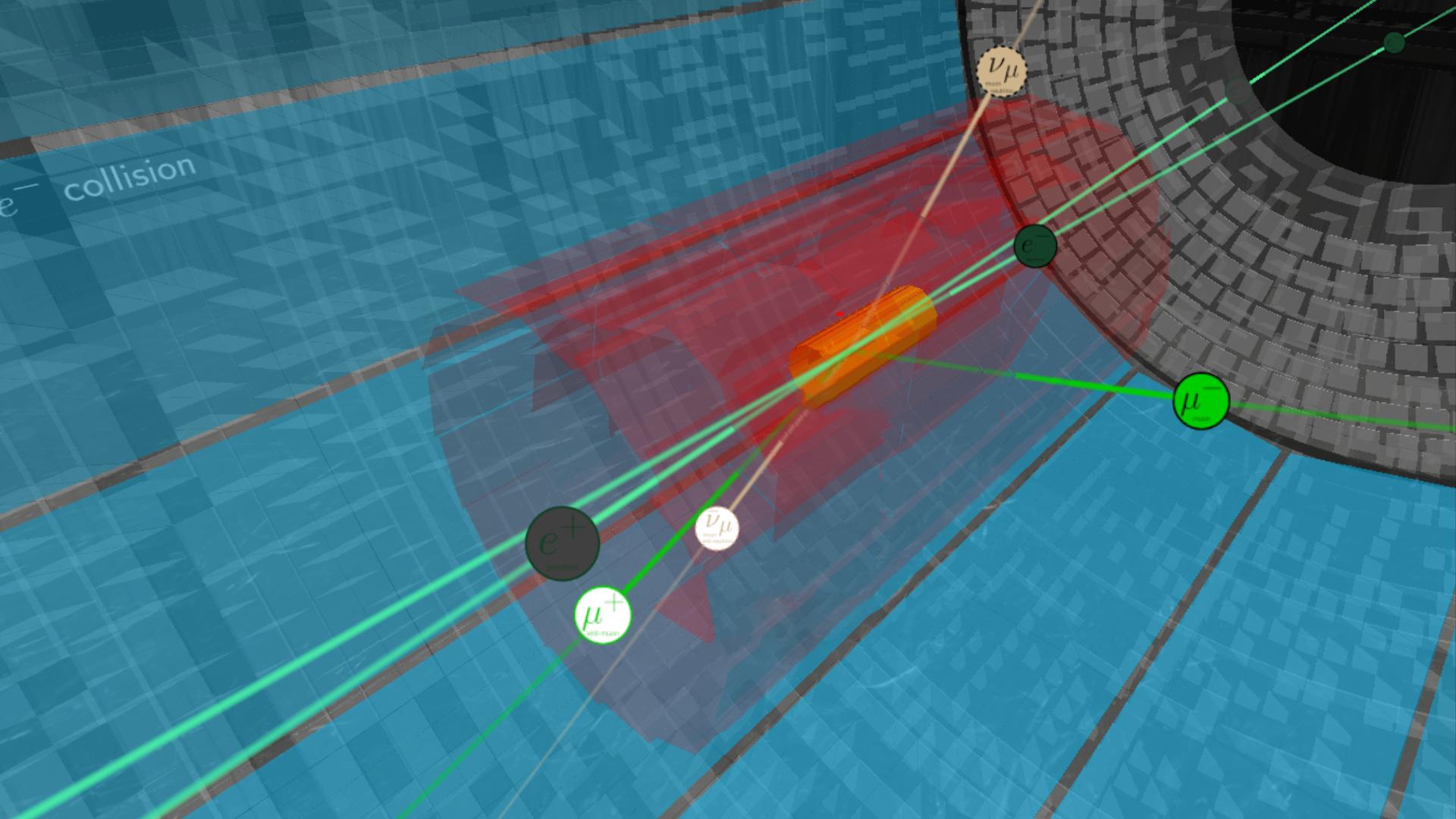 El detector Belle II buscando al bosón Z'. Esta partícula podría revelarse por un número inesperado de pares de muones con cargas opuestas, como se muestra aquí. Creédito: KEK / Belle II.