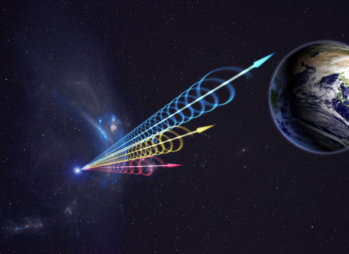 Creación artística de un Fast Radio Burst (FRB) llegando a la Tierra. Los colores representan la ráfaga que llega a diferentes longitudes de onda de radio, con longitudes de onda largas (rojo) que llegan varios segundos después de las longitudes de onda cortas (azul). Crédito: Jingchuan Yu, Planetario de Beijing/NRAO