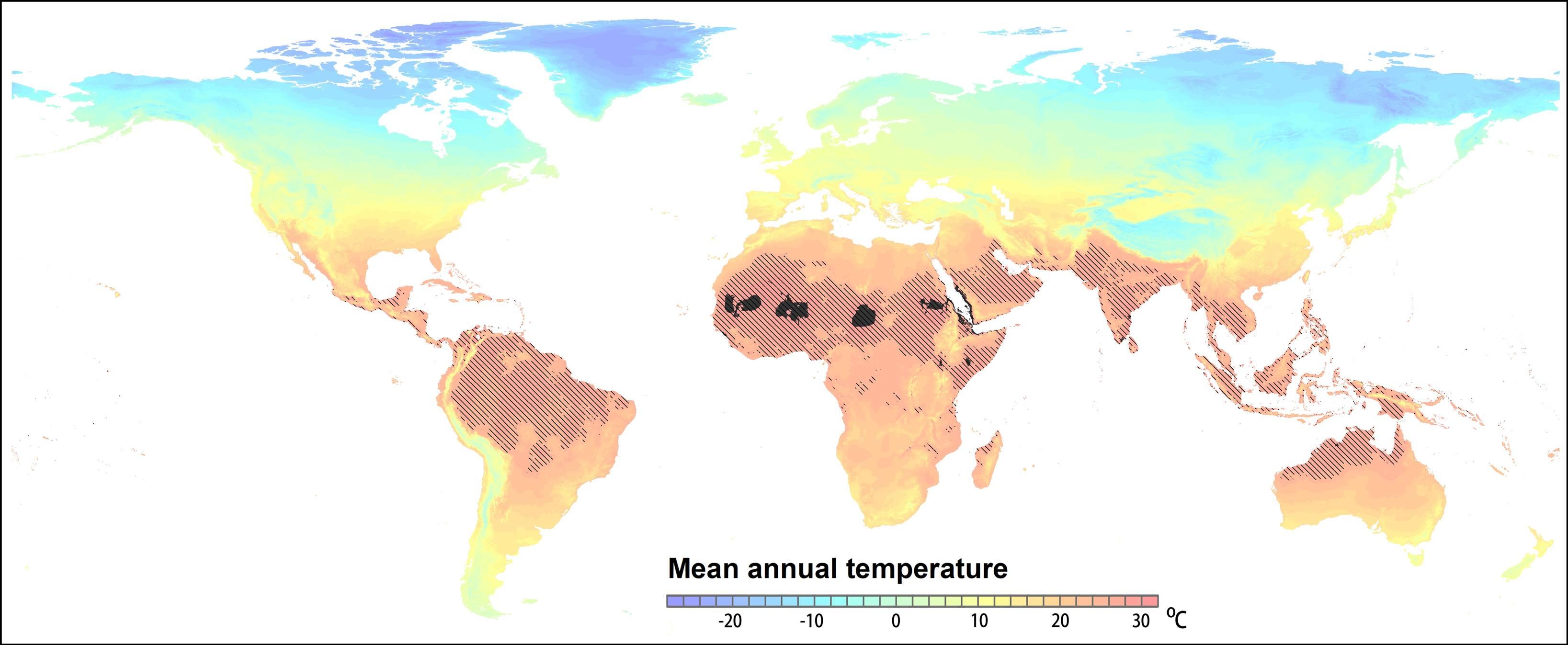 Si no se contienen las emisiones de gases de efecto invernadero, las temperaturas extremas que hoy se alcanzan en algunas zonas del desierto del Sáhara (señaladas en negro) se extenderán en 2050 al 19 por ciento de la superficie terrestre (marcadas en oscuro), donde viven 3.500 millones de personas. Los colores de fondo representan las temperaturas anuales promedio actuales. Crédito: PNAS. (Click sobre la imagen para ampliar).