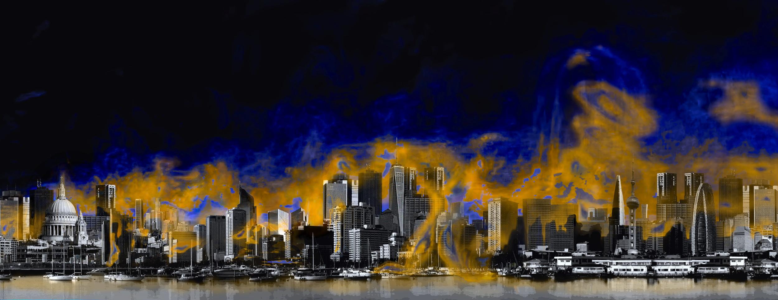 Ilustración de las desigualdades atmosféricas en una megaciudad: los vapores de amoníaco y ácido nítrico pueden impulsar tasas de crecimiento de las partículas de esos gases 100 veces más rápido de lo que se había visto hasta ahora. (Crédito: Helen Cawley).