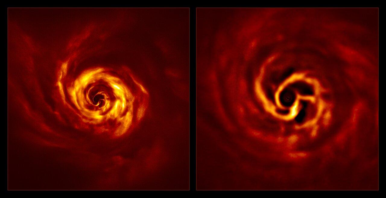 """Imágenes del sistema AB Aurigae que muestran el disco a su alrededor. La imagen de la derecha, una versión ampliada de la parte central de la imagen izquierda, muestra la región interna del disco. En esta región interna vemos el """"giro"""" (en amarillo muy brillante) que los científicos creen que marca el lugar donde se está formando un planeta.Crédito: ESO/Boccaletti et al."""