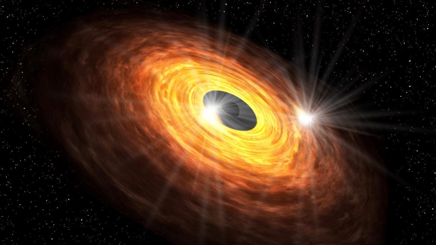 Los puntos calientes que circulan alrededor del agujero negro podrían producir la emisión lumínica casi periódica detectada con ALMA. Universidad Keio.