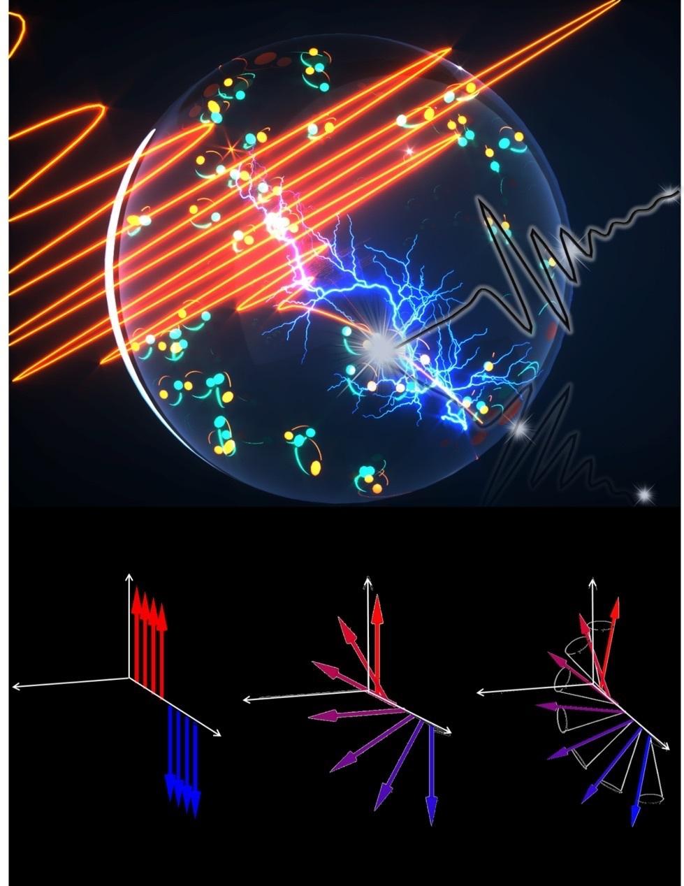 Esta ilustración muestra la aceleración de las ondas de luz de las supercorrientes, que descubre una nueva clase de fenómenos cuánticos. Imagen cortesía de Jigang Wang.