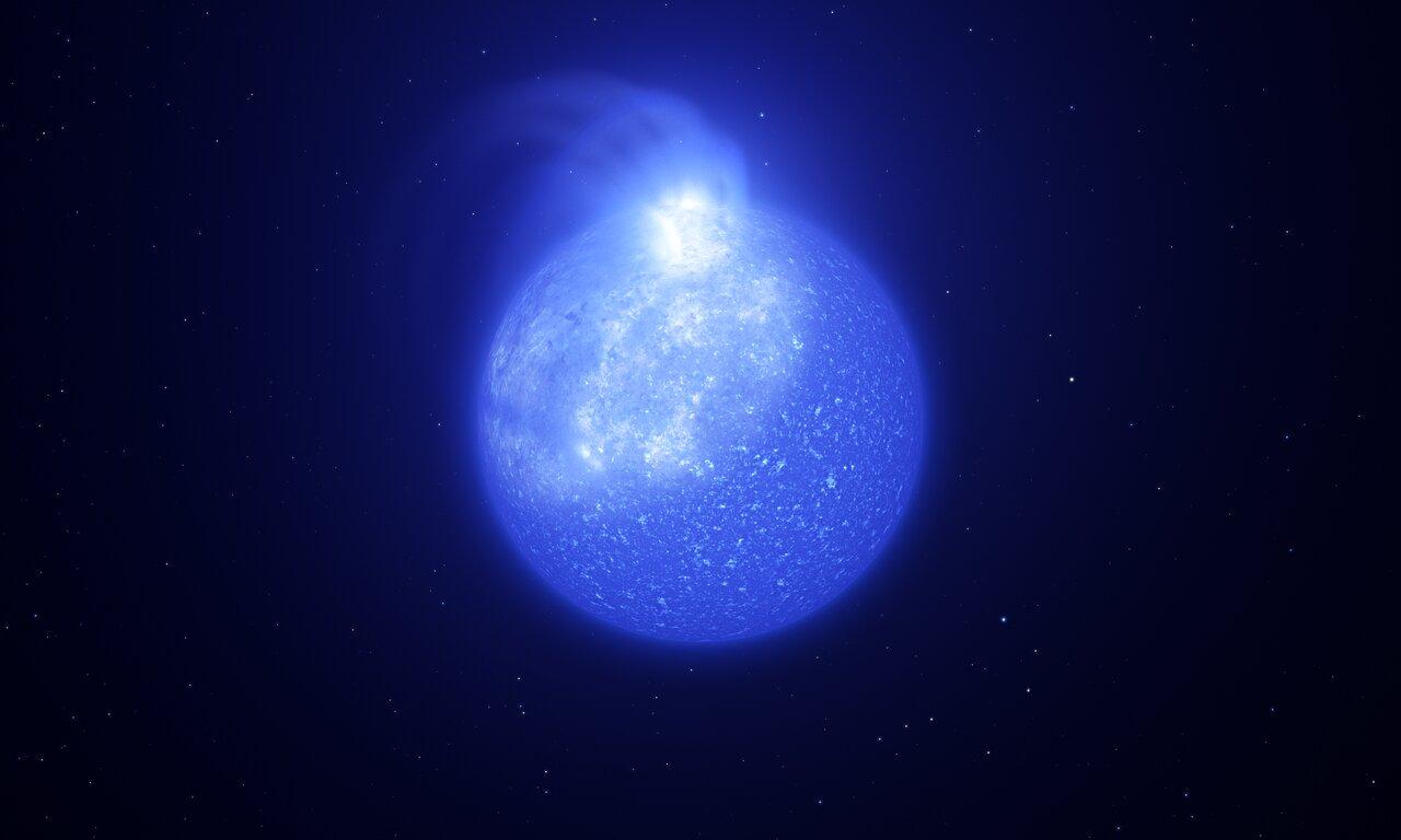 Representación artística de una estrella plagada de manchas magnéticas gigantes. Crédito: ESO/L. Calçada, INAF-Padua/S. Zaggia.
