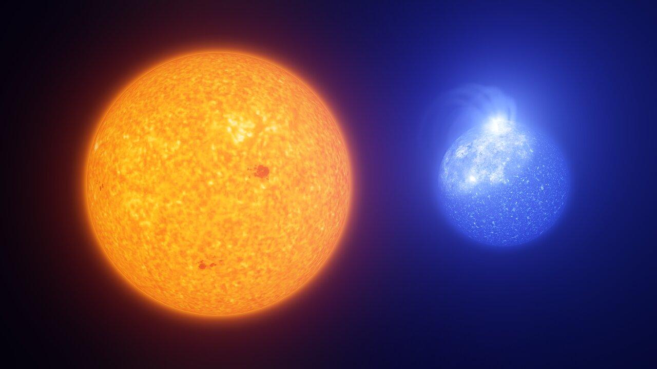 Representación artística que compara manchas solares con machas de estrellas de rama horizontal extrema. Crédito: ESO/L. Calçada, INAF-Padua/S. Zaggia.