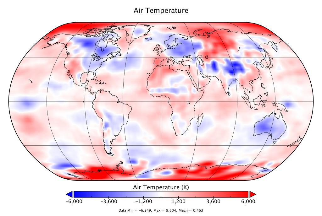 Mapa de las anomalías climáticas de mayo 2020, según NCEP-NCAR. Fuente: Global-climat.