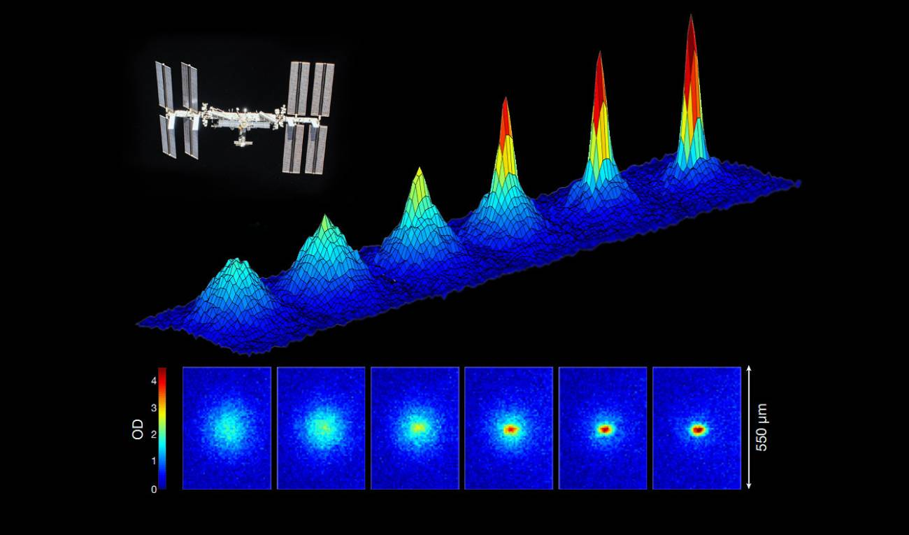 Inicio de la formación de un condensado de Bose–Einstein en la Estación Espacial Internacional. / R. Thompson et al./Nature/NASA