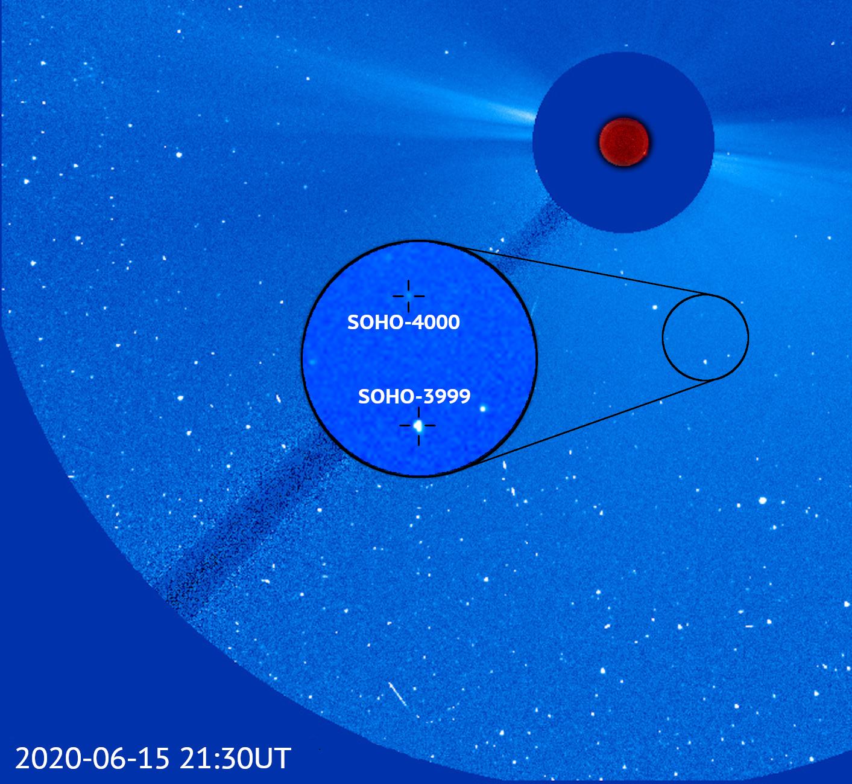El cometa 4000 se ve aquí en una imagen de la nave espacial junto con el cometa 3.999 descubierto también por SOHO. Los dos cometas están relativamente cerca, a aproximadamente 1.650.000 kilómetros de distancia, lo que sugiere que podrían haberse conectado entre sí hace tan solo unos años. Crédito: ESA / NASA / SOHO / Karl Battams