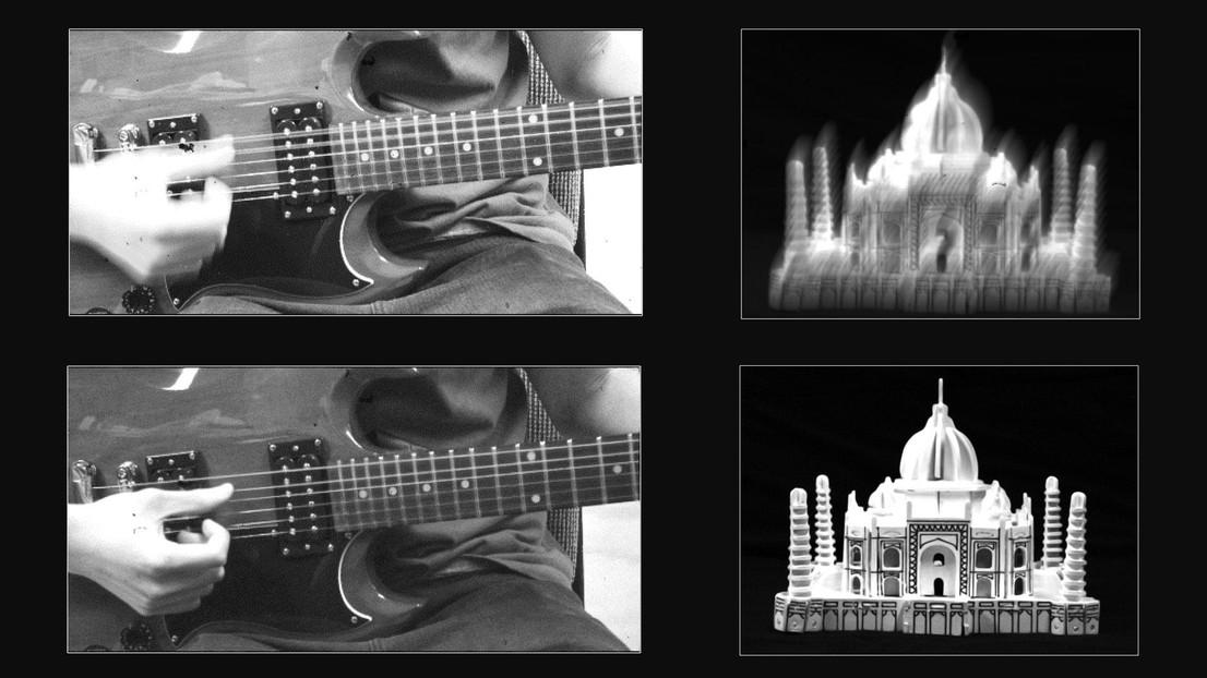 En la imagen superior, se muestra la foto de una mano tocando la guitarra en la que se aprecia el movimiento. En la inferior, la misma imagen captada por este sistema que consigue el efecto de parar el movimiento para obtener una imagen de naturaleza muerta, equivalente a la de la imagen de la derecha. Crédito: Ecole Polytechnique Federale de Lausanne.