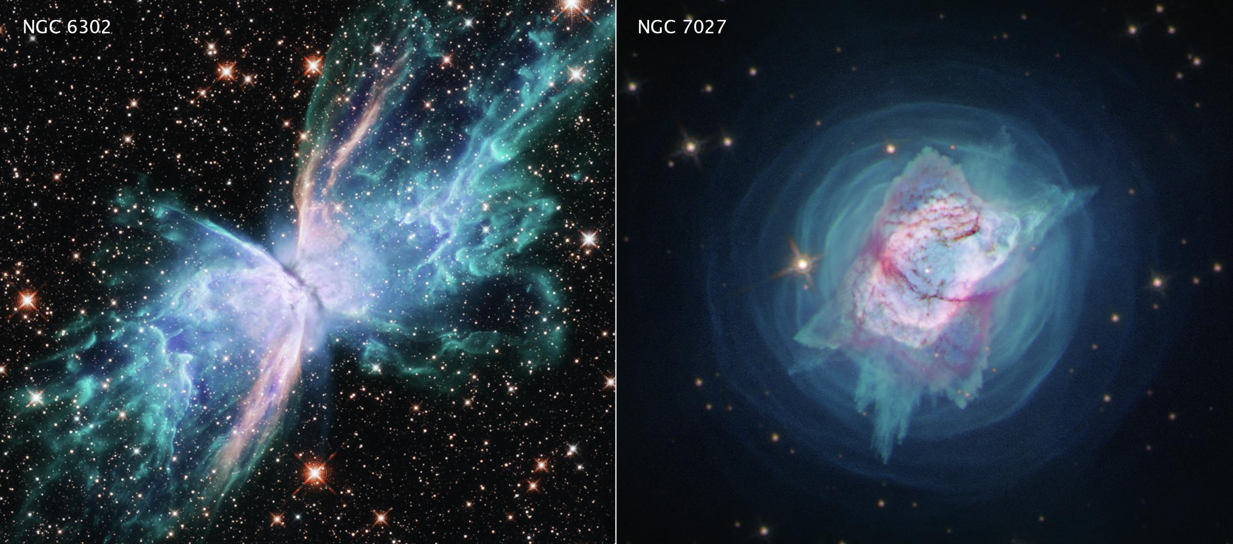 NGC 6302 o Nebulosa de la Mariposa (izda.) y NGC 7027, que se asemeja a un insecto con una concha metálica muy brillante. NASA.