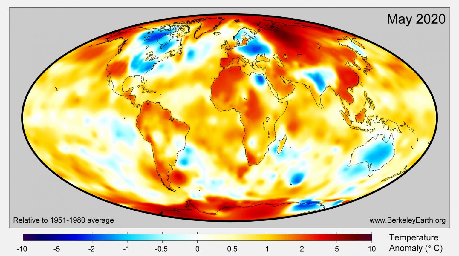La temperatura en el Ártico es superior a la media global y así lo refleja el mapa: muestra las anomalías de temperatura más significativas en toda Rusia, incluida Siberia. Fuente: BerkeleyEarth.