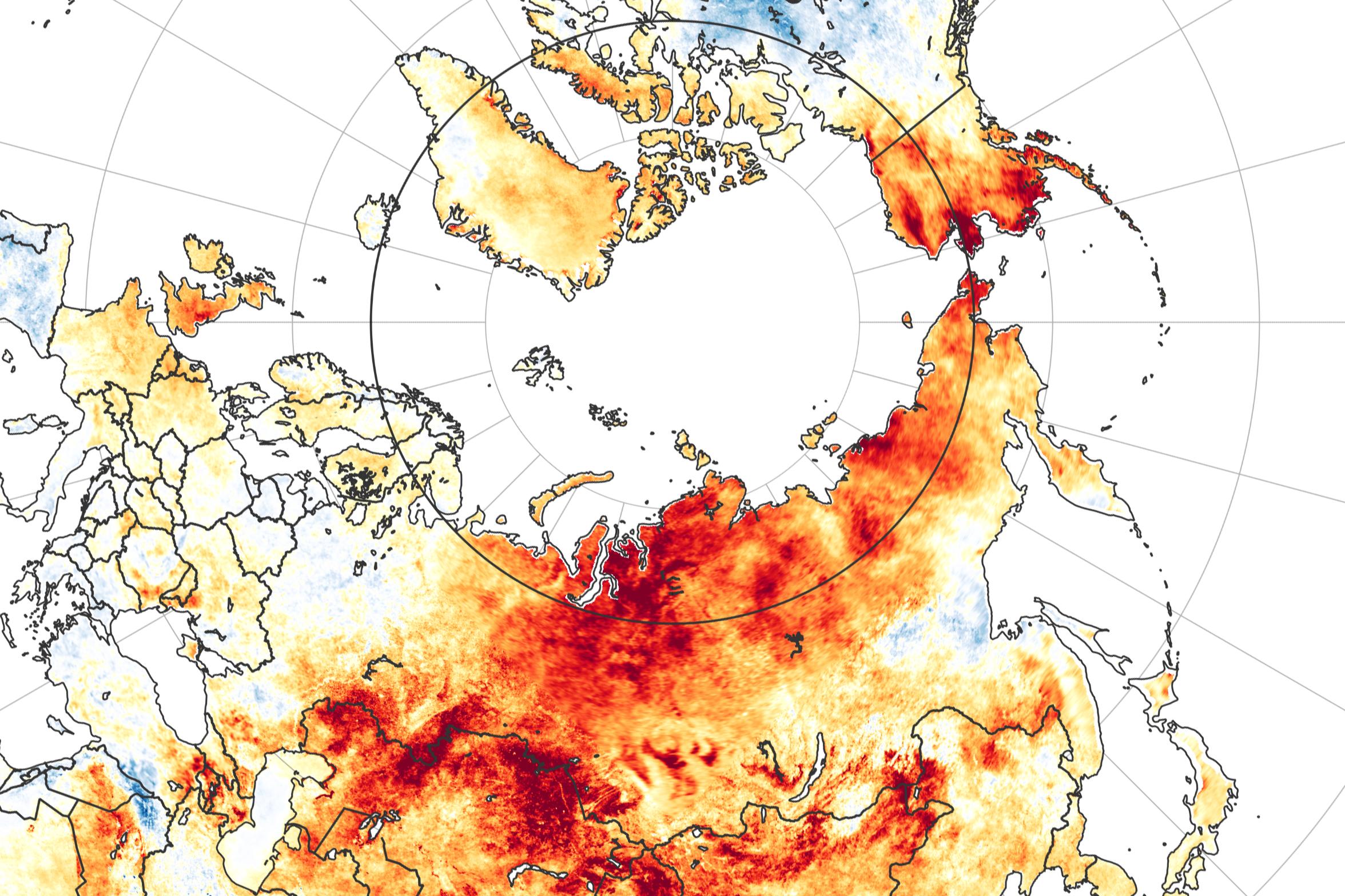 Anomalías en la temperatura de la superficie de la región ártica ente el 19 de marzo y el 20 de junio de 2020. Earth Observatory.
