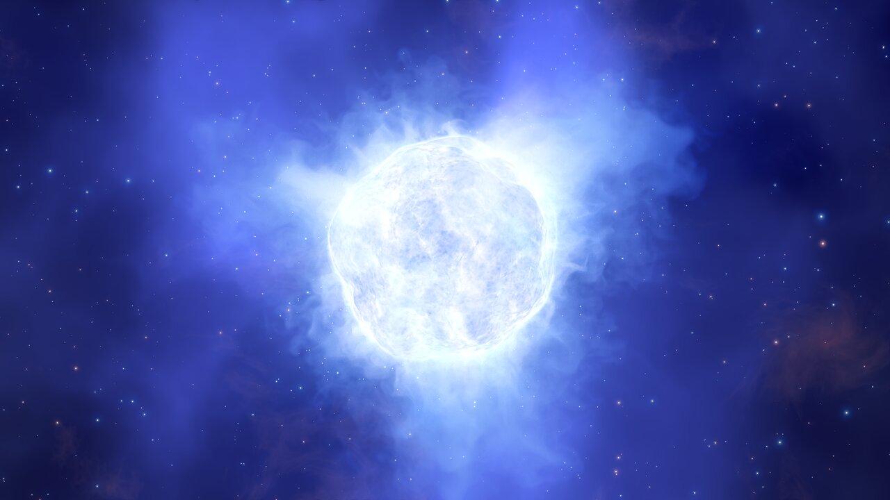 Esta ilustración muestra el aspecto que podría haber tenido la estrella variable luminosa azul de la galaxia enana Kinman antes de su misteriosa desaparición.  Crédito: ESO/L. Calçada