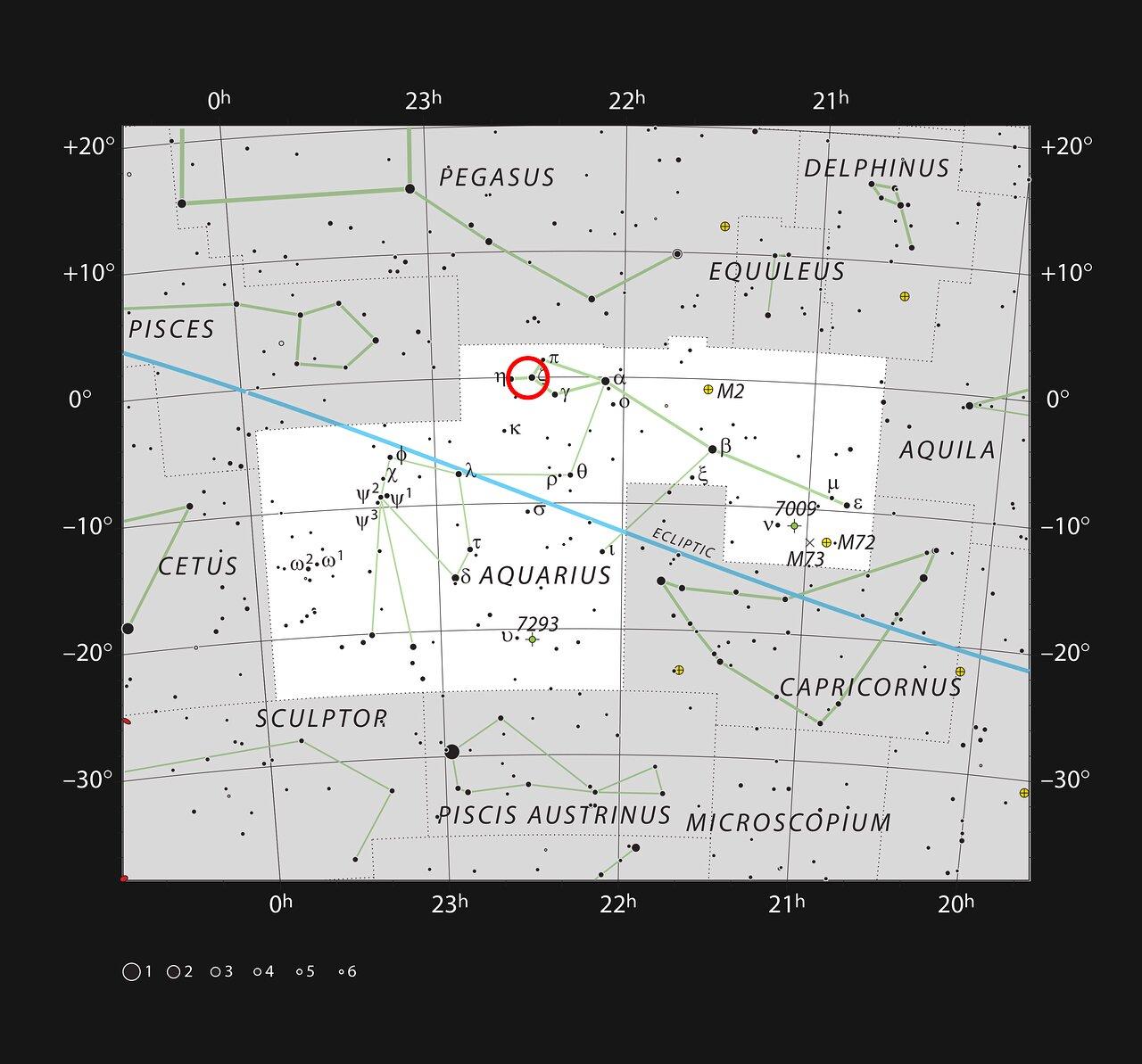 Ubicación (círculo rojo) de la galaxia enana Kinman, donde desapareció una misteriosa estrella variable luminosa azul. Crédito: ESO, IAU and Sky & Telescope.