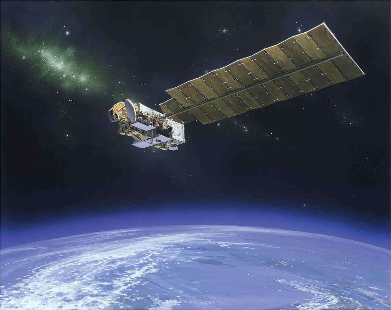 La nave espacial Aura es una misión de química atmosférica de la NASA que monitorea la atmósfera protectora de la Tierra. NASA.