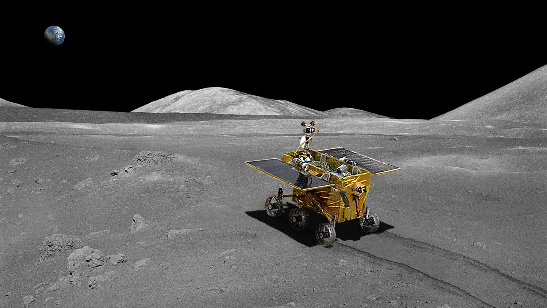 """Rover chino """"Yutu"""". Imagen: CNSA. Fuente: ESA."""