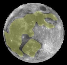 """Imagen del """"conejo"""" en la superficie lunar que dio nombre al mito de Yutu. Fuente: Wikipedia."""